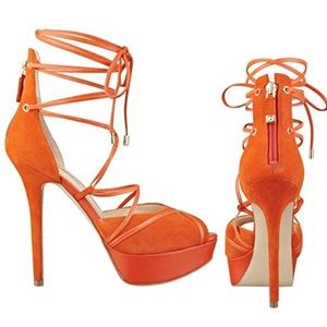 Guess ღ Raja Ankle Wrap Suede Stiletto ღ Orange